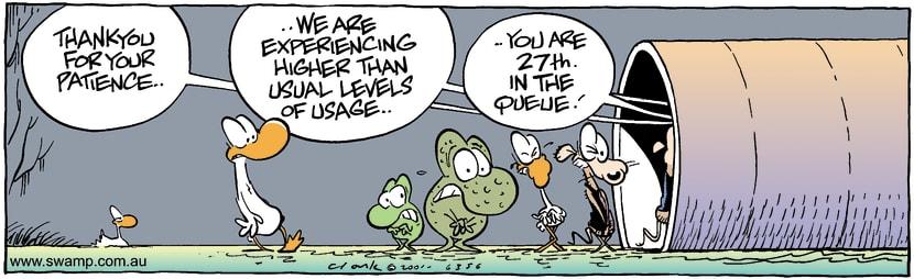 Swamp Cartoon - Waiting LineJanuary 30, 2002