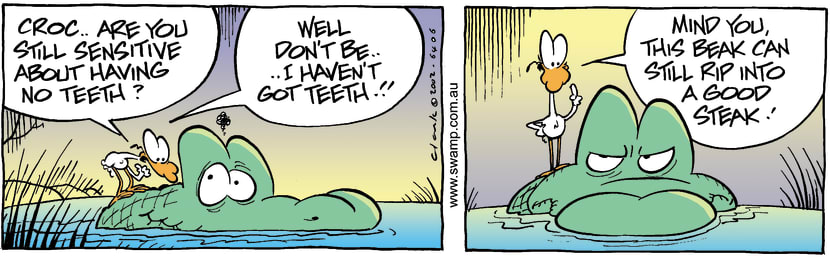 Swamp Cartoon - Croc TeethMarch 29, 2002