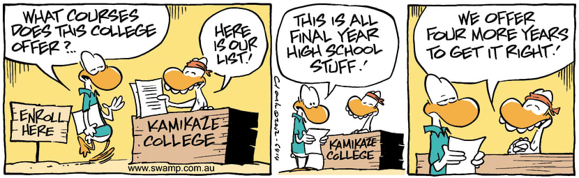 Swamp Cartoon - Kamikaze College RightApril 8, 2002