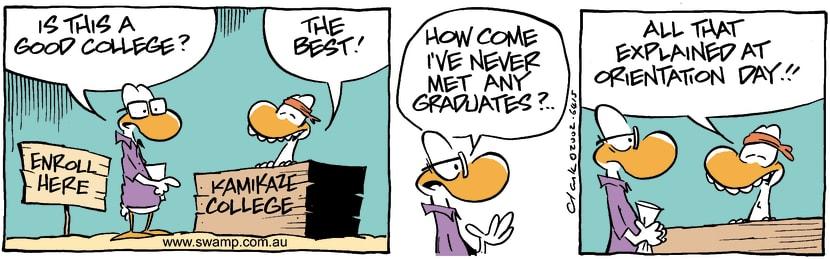 Swamp Cartoon - Kamikaze College InspectorApril 9, 2002