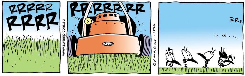 Swamp Cartoon - MowingApril 17, 2002