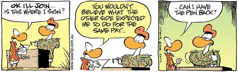 Swamp Cartoon - Military PayMay 22, 2002