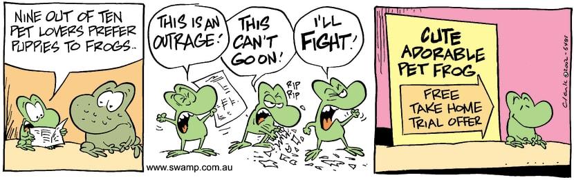 Swamp Cartoon - Puppies Vs FrogsJune 29, 2002