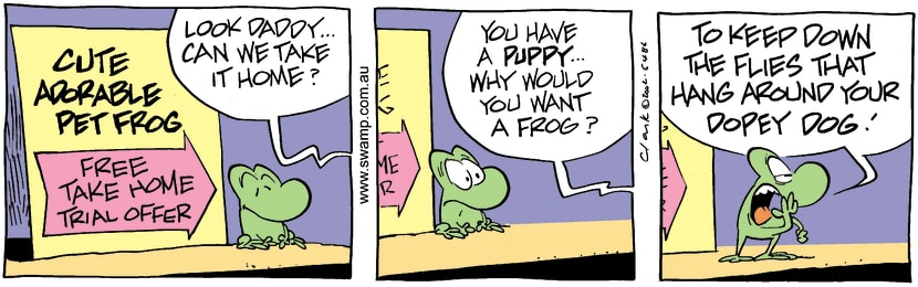 Swamp Cartoon - Puppies Vs Frog 2July 1, 2002