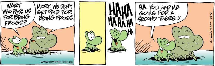 Swamp Cartoon - Working FrogsJuly 11, 2002
