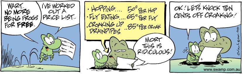 Swamp Cartoon - Working Frog 3July 13, 2002