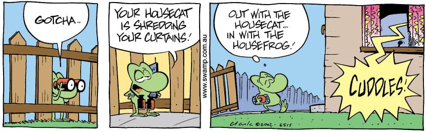 Swamp Cartoon - House Frog 2August 3, 2002