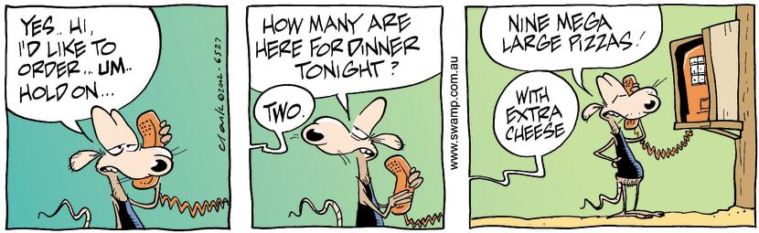 Swamp Cartoon - PizzaAugust 17, 2002