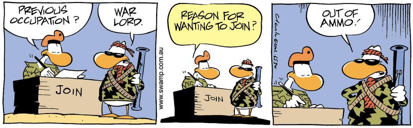 Swamp Cartoon - Joining ArmyAugust 26, 2002
