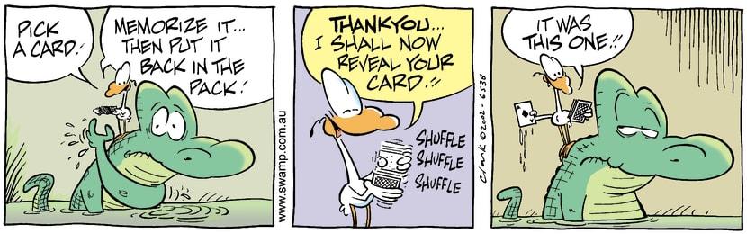 Swamp Cartoon - Card TrickAugust 30, 2002