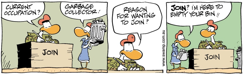 Swamp Cartoon - Joining Army 4September 4, 2002
