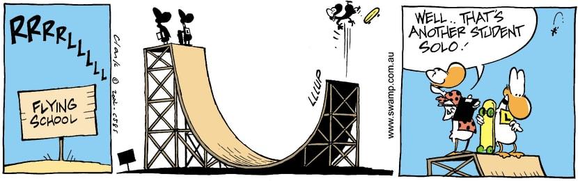 Swamp Cartoon - Skating 1October 24, 2002