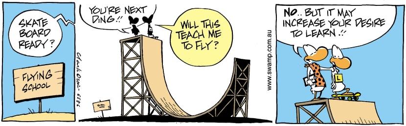 Swamp Cartoon - Skating 2October 25, 2002
