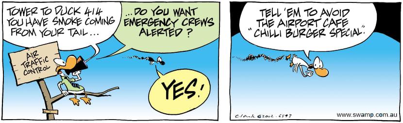 Swamp Cartoon - Emergency FlightNovember 2, 2002