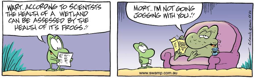 Swamp Cartoon - Healthy FrogsDecember 18, 2002