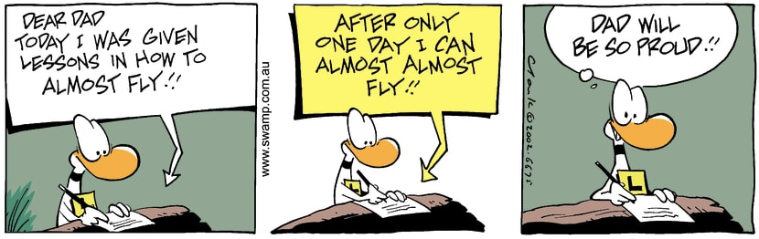 Swamp Cartoon - Almost FlyFebruary 5, 2003