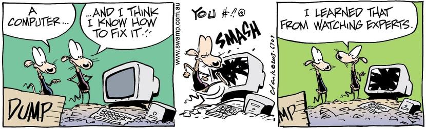 Swamp Cartoon - Computer FixitMarch 17, 2003