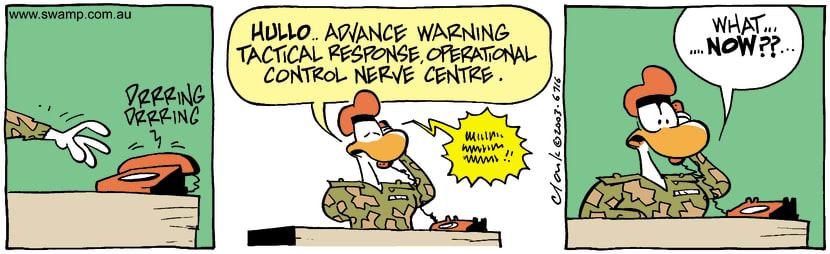 Swamp Cartoon - Warning CentreMarch 25, 2003