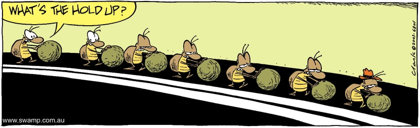 Swamp Cartoon - Dung Beetles Hold UpJuly 7, 2003