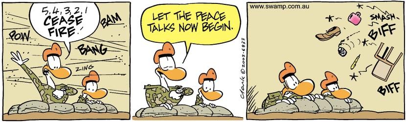 Swamp Cartoon - Cease FireAugust 8, 2003