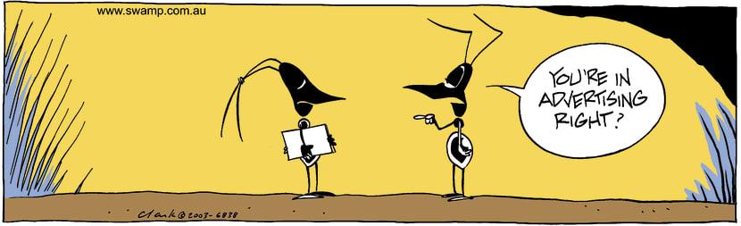 Swamp Cartoon - Swamp Ants Advertising ComicAugust 14, 2003