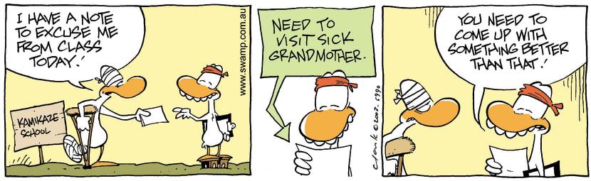 Swamp Cartoon - Swamp Duck Illness ExcuseFebruary 7, 2004