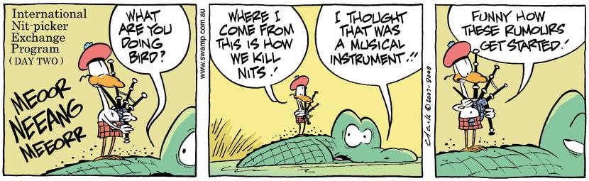 Swamp Cartoon - Nitpicker Bird BagpipesMay 10, 2007