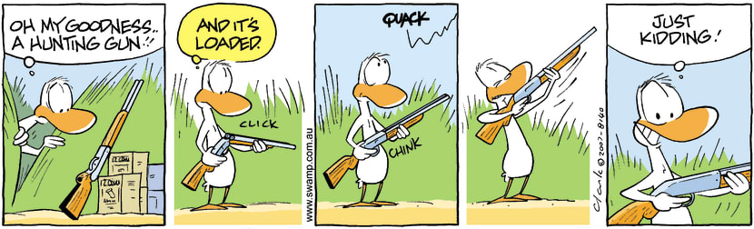 Swamp Cartoon - Duck Hunting in reverse 2October 11, 2007
