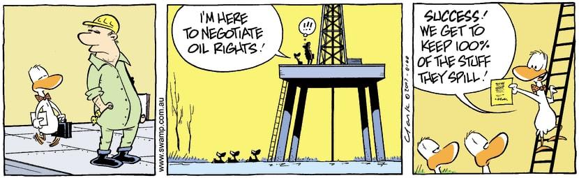 Swamp Cartoon - Ducks Negotiate Oil RightsDecember 6, 2007