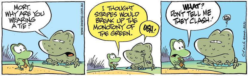 Swamp Cartoon - Sharp Dressed Frog 1April 10, 2008