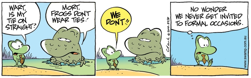 Swamp Cartoon - Sharp Dressed Frog 2April 11, 2008