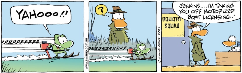 Swamp Cartoon - Mort Frog Boating ComicMay 17, 2008