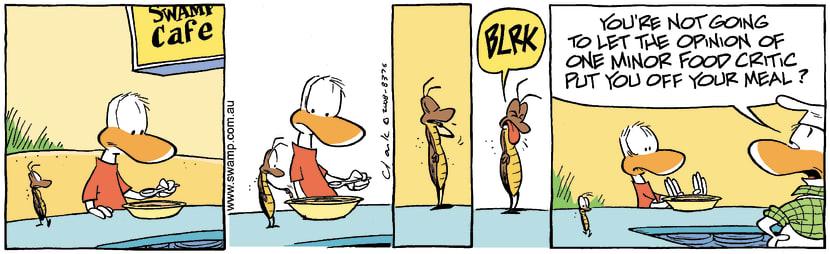 Swamp Cartoon - Cockroach Food CriticJuly 11, 2008