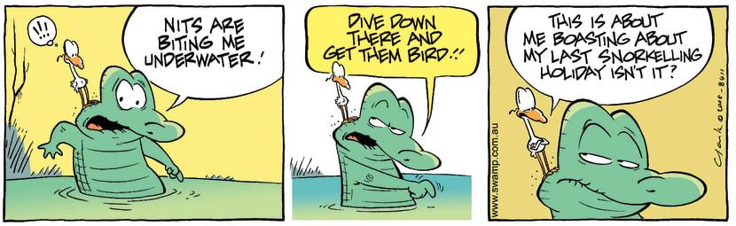 Swamp Cartoon - In above his head 1August 21, 2008