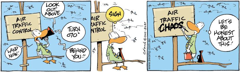 Swamp Cartoon - Air Traffic Control Chaos ComicJuly 4, 2009