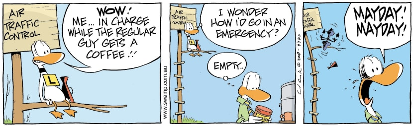 Swamp Cartoon - Air Traffic Controller Mayday ComicSeptember 14, 2009