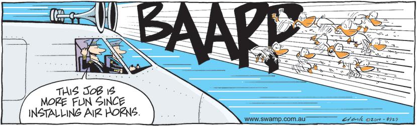 Swamp Cartoon - Aircraft With Horns ComicApril 17, 2010