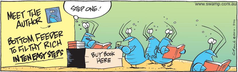 Swamp Cartoon - Bob Crayfish Author ComicDecember 24, 2010