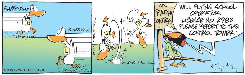 Swamp Cartoon - Ding Duck and ClutterbuckApril 2, 2011