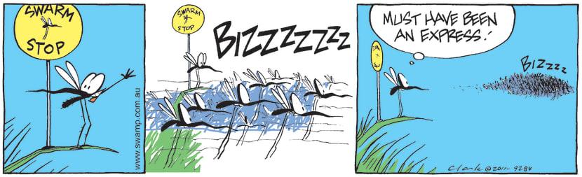 Swamp Cartoon - Mosquito Catching Public Transport CartoonJune 6, 2011