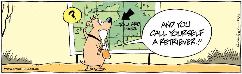 Swamp Cartoon - Hunting Dog Checking MapOctober 12, 2011