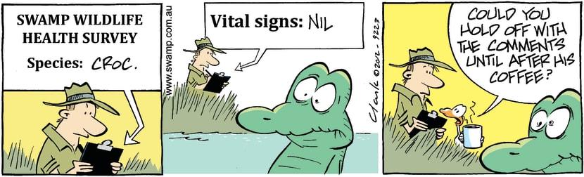 Swamp Cartoon - Old Man Croc Coffee ComicMarch 10, 2012