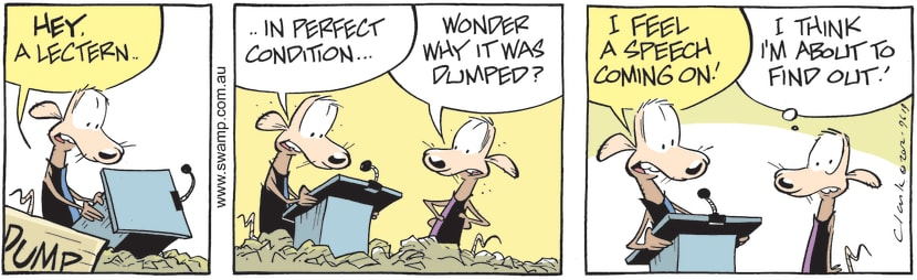 Swamp Cartoon - Dump Rats discover Lectern in the DumpJune 30, 2012