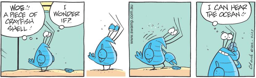 Swamp Cartoon - Bob the Crayfish shell surpriseJuly 5, 2012