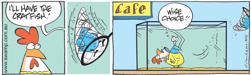 Swamp Cartoon - Bob the Crayfish off the menuJuly 19, 2012