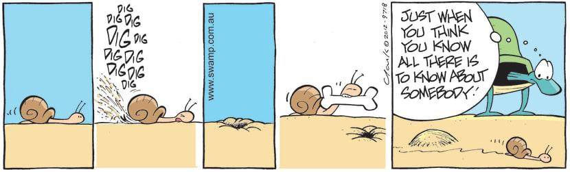 Swamp Cartoon - Snail Burying Bone ComicOctober 24, 2012