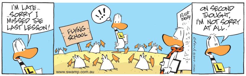Swamp Cartoon - Tough Flying Lesson ComicNovember 28, 2013