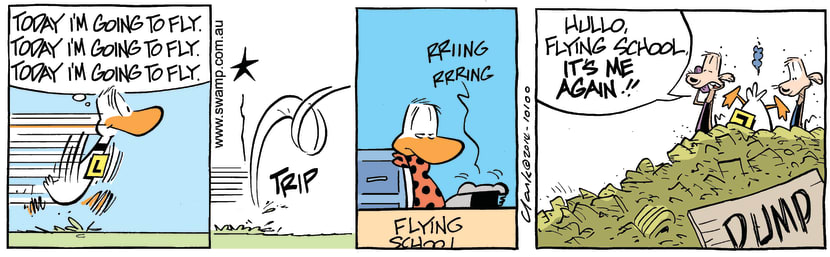 Swamp Cartoon - Today, I'm Going to Fly ComicFebruary 7, 2014
