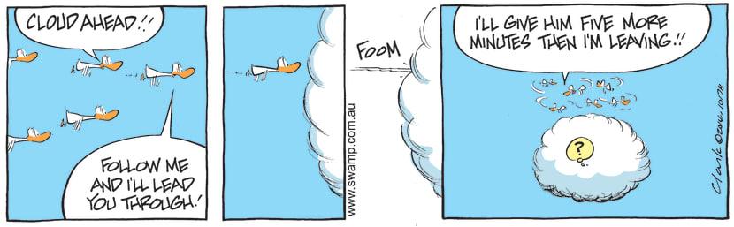 Swamp Cartoon - Swamp Ducks Flying in Cloud ComicMay 11, 2014