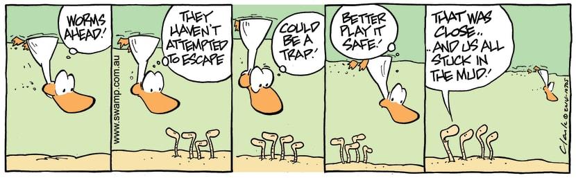 Swamp Cartoon - Swamp Duck Worms ComicJanuary 8, 2015